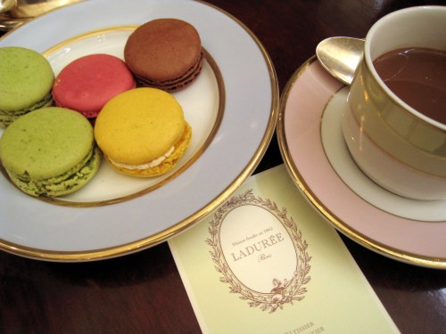 Macaroons which tasted as good as it looks and a cup of Laduree's famed chocolat chaud
