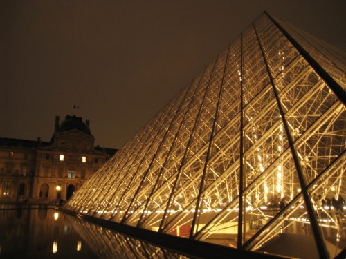 Glowing pyramids at The Louvre
